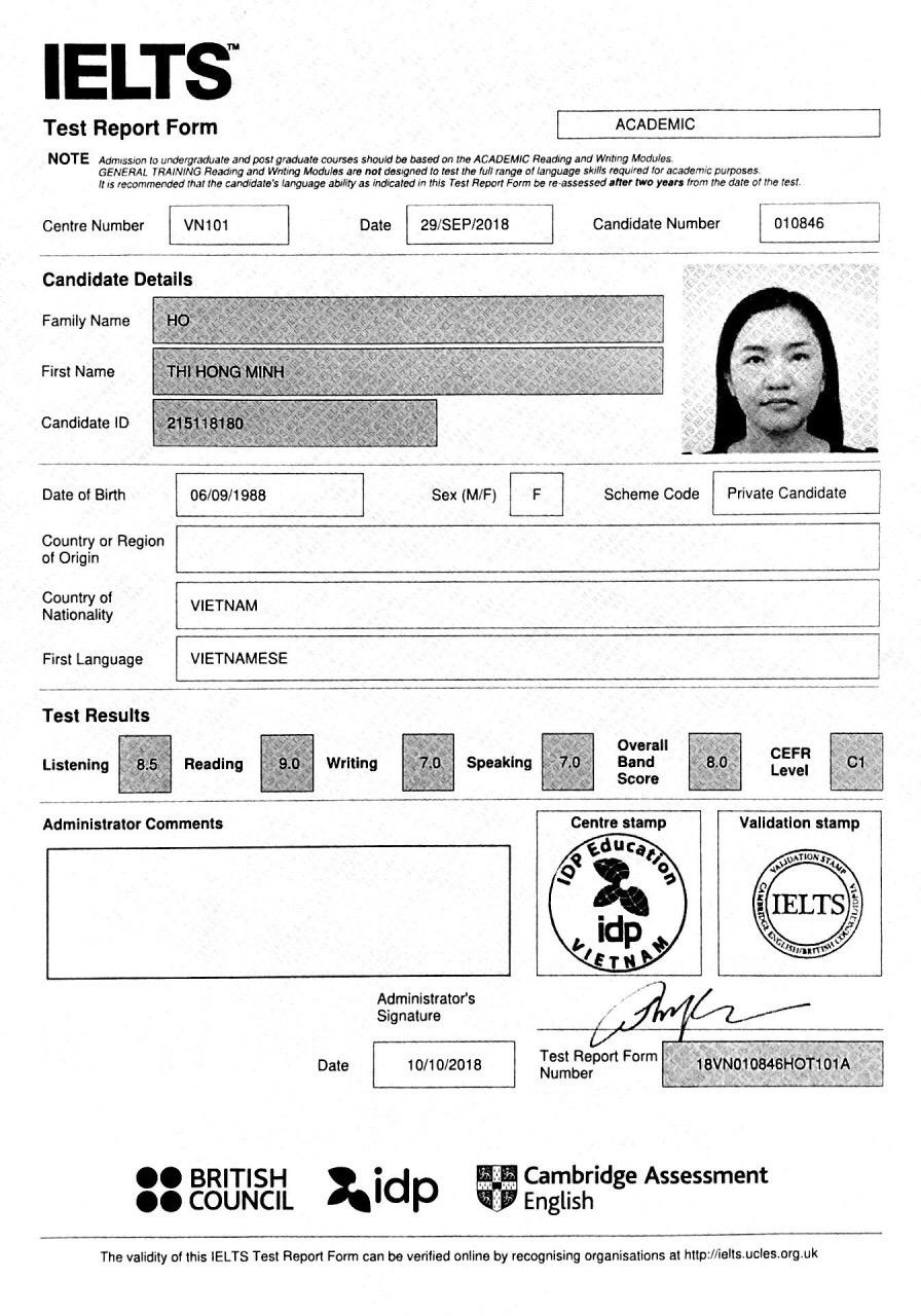 Kết quả IELTS 8.0 của cô Hồng Minh sau khi du học tiếng Anh tại Pines